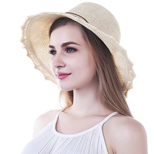 VBIGER Sonnenhut Damen Faltbarer Strohhut Damen Strandhut Damen mit schöner Schleife