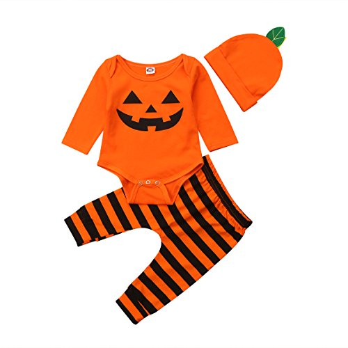 Newborn Infant Toddler Baby Boy/Girl Halloween Clothes Pumpkin Long Sleeve Bodysuit Romper + Long Pants Trousers + Hat Outfit (70/0-6M, Orange+Black B) ()