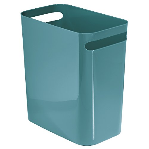 InterDesign Una Wastebasket Trash Can 12 Inch - Teal (Wastebasket Vanity Plastic)