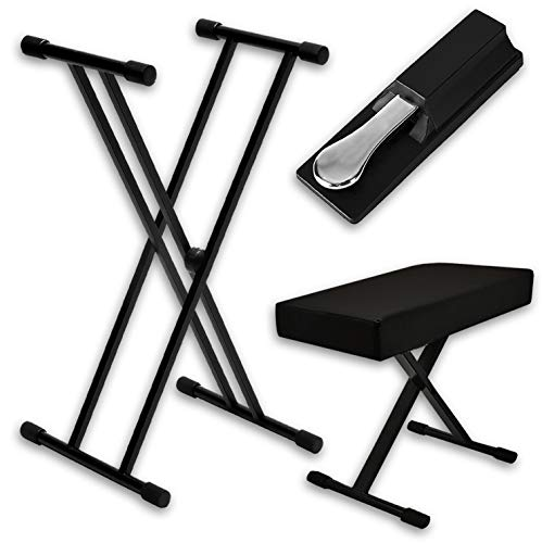 Piano Keyboard Accessories Kit - Stand, Bench and Pedal - Fully-adjustable stand & bench w/universally-compatible sustain pedal - Great gift for beginners and advanced music players