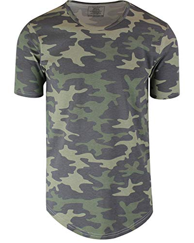 ShirtBANC Mens Hipster Hip Hop Long Drop Tail T Shirts (Camouflage, XS)