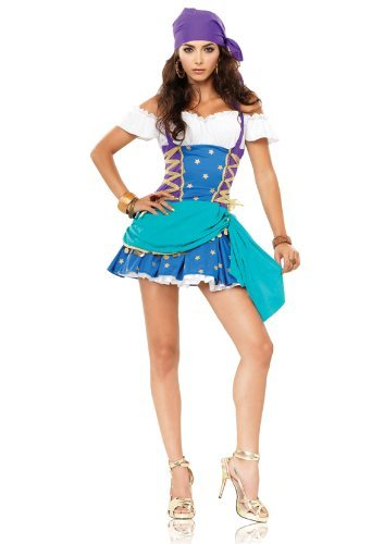 Sexy Gypsy Princess Costumes (Leg Avenue Women's 2 Piece Gypsy Princess Off The Shoulder Halter Dress With Head Piece, Multi, X-Large)