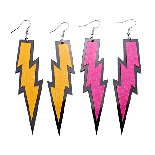 JETEHO Women Fashion Retro Neon Flash Light Statement Party Earring 80s Accessories Party Costume ()