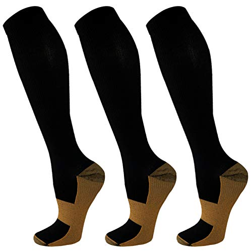Compression Socks For Men & Women-3 Pairs,15-30mmHg is Best For Running,Athletic,Medical,Pregnancy and Travel (L/XL)