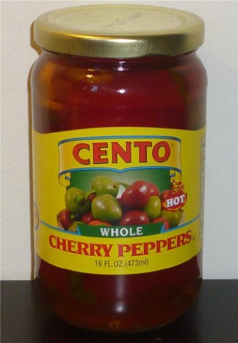 Italian Pickled Peppers - Cento Fancy Whole Hot Cherry Peppers, (2 Pack)