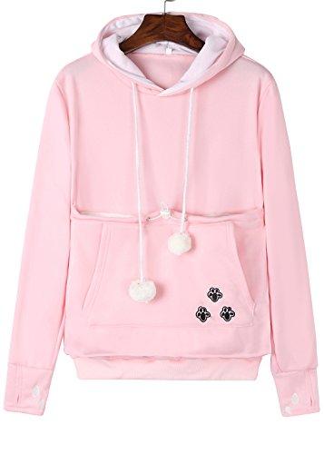 - Anbech Unisex Big Kangaroo Pouch Loose Fleece Hoodie Long Sleeve Pullover Little Pet Cat Dog Holder Carrier Sweatshirts (Pink-Fleece, L)