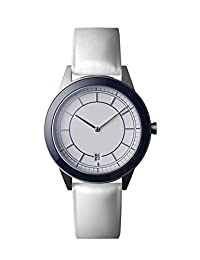 Uniform Wares 351-BR-01 351 Series Men's Stainless Blue Leather Strap White Dial Watch