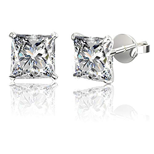 .925 Sterling Silver Hypoallergenic Cubic Zirconia Princess-Cut Stud Earrings, 10mm