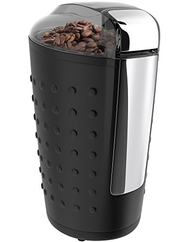 Vremi Electric Coffee Grinder - Portable Coffee Bean Grinder with Easy Touch Settings Stainless Steel Blades & 150W Power Motor - Grinds Coarse Fine Ground Beans for 12 to 14 Cups of Coffees - Black (Best Bean To Cup)