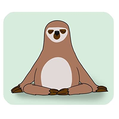 Wece Hipster Sloth Meditation Rectangle Non-Slip Rubber Mousepad Mouse Pads / Mouse Mats Case Cover - 0631338102281