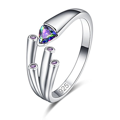 Contemporary Trillion Ring - Voinnia 925 Sterling Silver Created Rainbow Topaz Filled Trillion Cut Contemporary Branch Anniversary Ring for Women (Color : Rainbow, Size : 7)