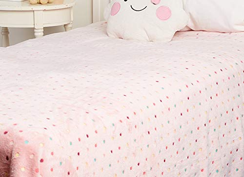(Décor&More Velvet Touch Rainbow Polka Dot Throw Fleece Blanket (60