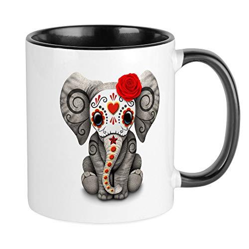Elephant Sugar - CafePress Red Day Of The Dead Sugar Skull Baby Elephant Mugs Unique Coffee Mug, Coffee Cup