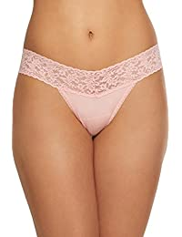 Womens Rolled Organic Cotton Original Rise Thong With Lace In Rosita