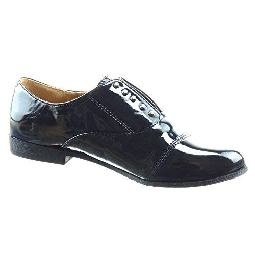 Sopily Chaussure Mode Richelieu Cheville femmes verni Talon bloc 2 CM - Noir