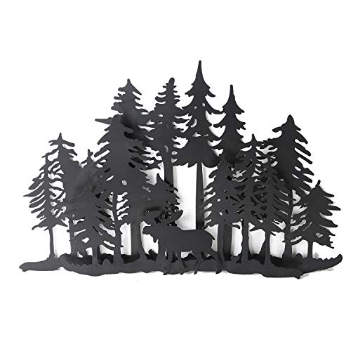 Asense Tree of Life Forest Moose Metal Wall Decor Sculptures for Living Room, Kitchen Wall - Moose Metal Wall
