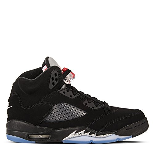 Nike Air Jordan 5 Retro OG BG Black Fire Red Metallic Silver White 845036 003 (US 6y) by Jordan