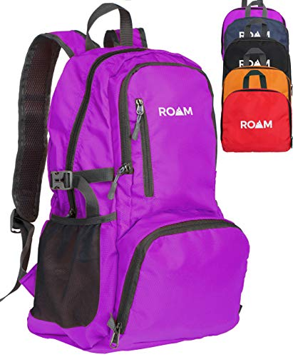 Roam Packable Backpack – Lightweight Foldable Daypack Water-Resistant, 25L, Durable Tear-Resistant Nylon Weave – Daypack for Travel, Hiking, Backpacking, Camping, Outdoors, Beach, (Purple)