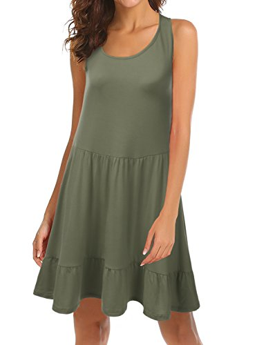 Doublju Womens Loose Fit Sleeveless Ruffle Hem Dress with Plus Size (Made in USA) Olive S