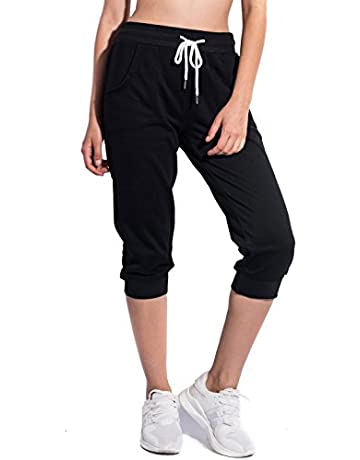 a1a190b5b5efe SPECIALMAGIC Women's Sweatpants Cropped Jogger French Terry Running Pants  Lounge Loose Fit Drawstring Waist with Side