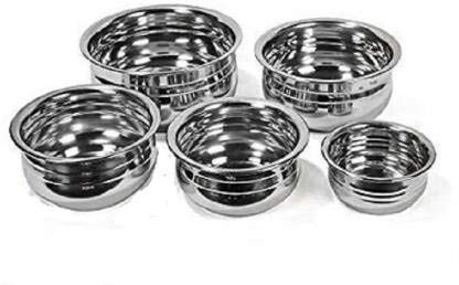 Steel Handi Set Stainless Steel Urli Handi Pot pan/pateli/tapeli/serving bowl/ biryani tope cookware Set of 5 Pieces (425 ml, 550 ml, 850 ml, 1250 ml and 1500 ml, Induction and Gas Compatible Without Copper)