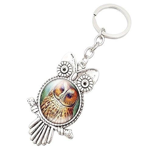 iQKA Retro Owl Time Gemstone Metal Keychain Glass Keyring Blessing Protection Talisman Charm Congratulatory Gift (G, One -