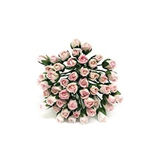 1/2cm Light Pink Paper Roses, Mulberry Paper Flowers, Miniature Flowers, Mulberry Paper Rose Buds, Paper Rose Flower, Miniature Rose, DIY Bouquet, Scrapbooking Flowers 50 Pieces 51