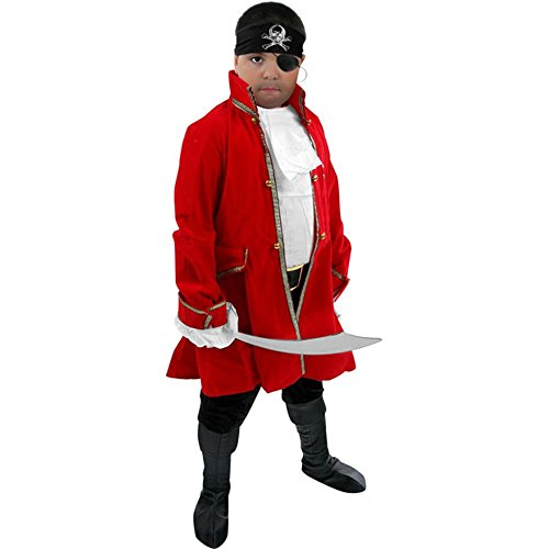 Kid's Pirate Captain Costume (Size:X-large 12-14) (Red Skull Costume)