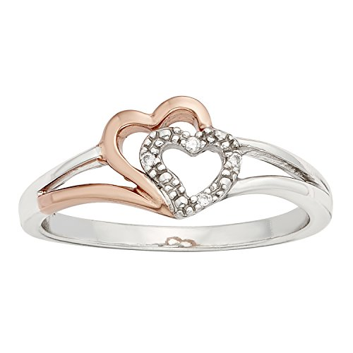 Sterling Silver, 10k Rose Gold 2-Tone .02ct Diamond Double Heart Promise Ring (I-J I1-I2)