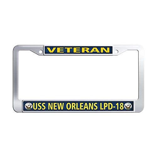 USS New Orleans LPD-18 Veteran License Plate Frame Holder,Stainless Steel US Navy Military License Frame Car ()