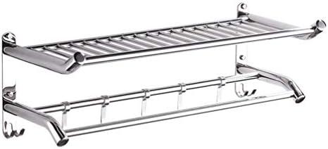 浴室台所SUS304ステンレス鋼のタオルラックフック壁掛けタオルホルダー用タオル棚、シルバー