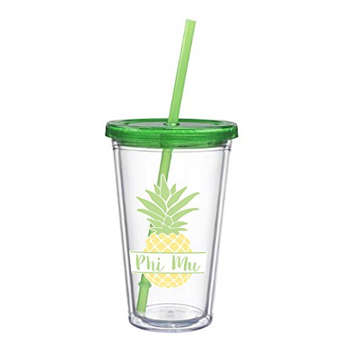 Phi Mu Nickname Pineapple Sticker on plastic Tumbler Greek Sorority Decal 16 oz. BPA - Coach Store Policy Return