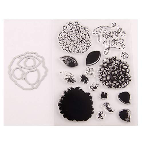 Sixinu Flower Thank You Seal Stamp with Cutting Dies Stencil Set DIY Scrapbooking Embossing Photo Album Decorative Paper Card Craft Art Handmade