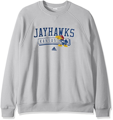 NCAA Kansas Jayhawks Men's Phys Ed Class Vault Fleece Crew Sweat Shirt, X-Large, (Adidas Fleece Crew Sweatshirt)