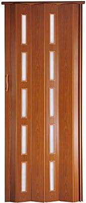 Puerta plegable corredera de plástico, color cerezo, con cerradura/bloqueo, altura 202 cm, ancho de montaje hasta 94 cm, perfil de doble pared: Amazon.es: Bricolaje y herramientas