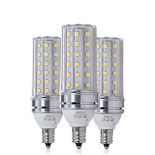E12 LED Bulbs, 12W LED Candelabra Bulb 100 Watt Equivalent, 1200lm, Decorative Candle Base E12 Corn Non-Dimmable LED Chandelier Bulbs, Daylight White 5000K LED Lamp, Pack of 3 ()