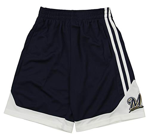 Outerstuff MLB Youth Boys Milwaukee Brewers Play Ball Mesh Shorts, X-Large