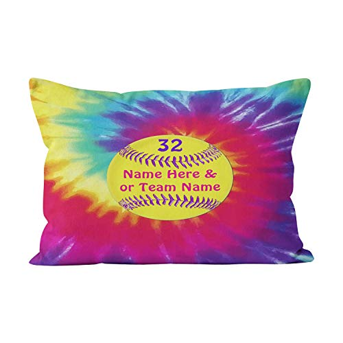 (Gygarden Funny Queen Cute Tie Dye Softball Personalized Hidden Zipper Home Decorative Rectangle Throw Pillow Cover Cushion Case 20x30 Inch One Side Design Printed)
