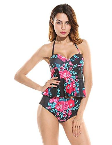 Ekouaer Womens 2 Piece Push Up Vintage Floral Peplum High Waist Bikini (Reversible Tankini Top)