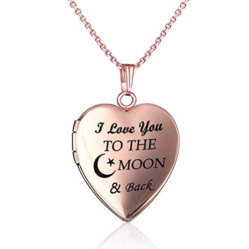 YOUFENG Love Heart Locket Necklace That Holds Pictures Engraved I Love You to The Moon and Back Photo Lockets Rose Gold Plated (Rose Gold -