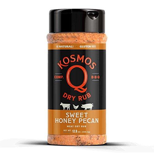 Kosmos Q Sweet Honey Pecan BBQ Rub | Sweet & Nutty Blend | Great on Brisket, Steak, Chicken, Ribs & Pork | Best Barbecue Rub | Meat Seasoning & Spice Dry Rub | 12 oz Shaker Bottle