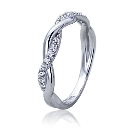 14K White Gold Wedding Ring CZ Pave Twisted - Twisted Wedding Ring