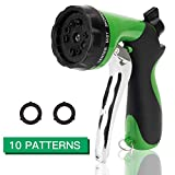 Apas Garden Heavy Duty Spray Nozzle, Comfort-Grip 10 Different Patterns Car Wash, Cleaning Watering Lawns Pets