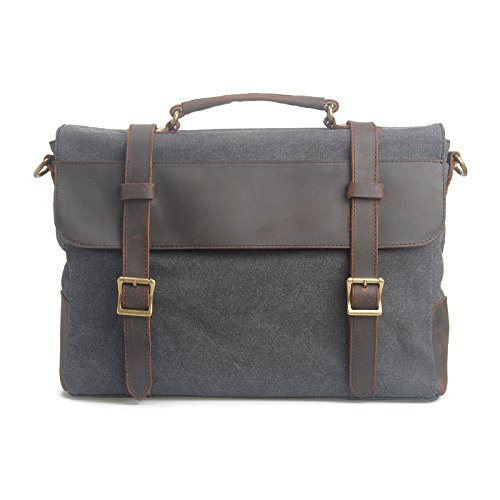 VRIKOO Canvas Genuine Leather Briefcase Satchel Shoulder Messenger Cross-body Bag for Men and Women (Coffee) Gris oscuro