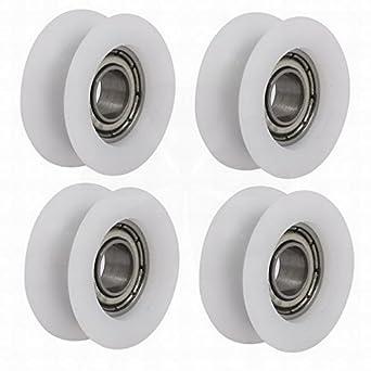 Rodamiento de polea para puerta corredera de cristal, 6 mm x 20 mm x 8,5 mm, 4 unidades, color blanco por Houseuse: Amazon.es: Amazon.es
