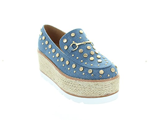 Solo U Womens Denim Comfort Classic Slip-on Platform 6 Us