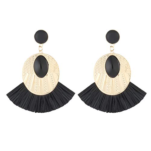Twinsmall Dangle Earrings Tassel Hoop Earrings Bohemia Fan Shape Drop Earrings Dangle Hook Eardrop for Women Party (Black 6) ()