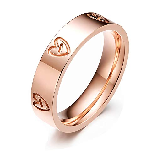 LULUCICI Love Ring Titanium Stainless Steel Wedding Band Ring Rose Gold You are The Only One in My Heart (Rose, 8)