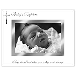 Malden International Designs Baby\'s Baptism Mirrored Glass With Silver Metal Inner Border Picture Frame, 4x6, Silver
