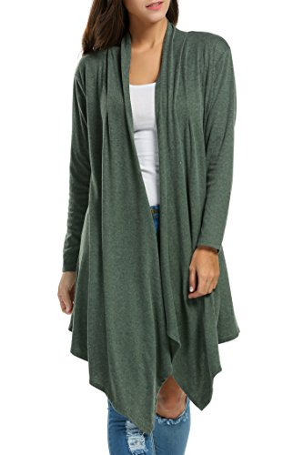 Zeagoo Women Long Sleeve Draped Open Front Fall Cardigan Sweater 61bc74495